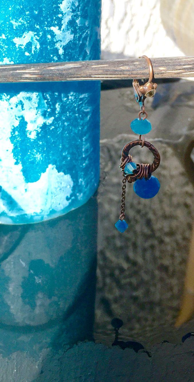 Boucles d'oreilles Karizen en cristal Swarovski , l'inspiration sera bleu..
