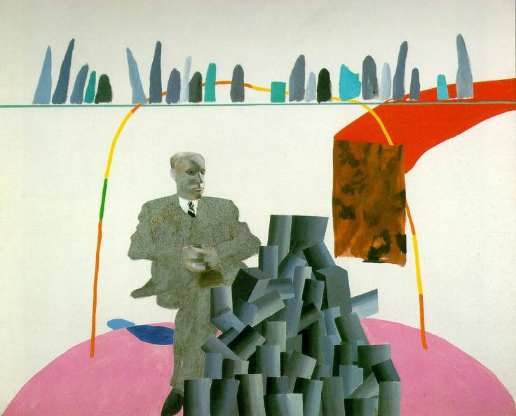 Portrait surrounded by artistic devices, David Hockney, 1965