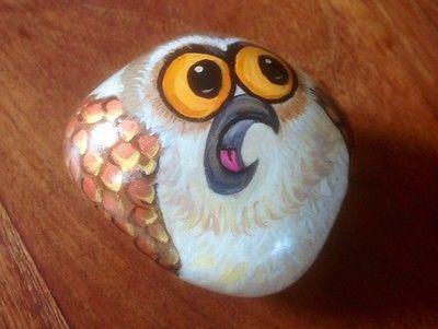 Owl Hand Painted on Pebble Rock | eBay