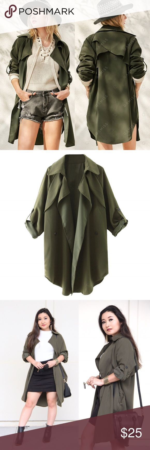 Olive Green Waterfall Trench Coat This loose-fitting trenchcoat is perfect for spring! Worn once for a photo shoot. Excellent condition! Gamiss Jackets & Coats Trench Coats