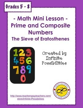 "Math Minis Worksheet - Prime and Composite NumbersThis is a short activity that reviews prime and composite numbers.  Students will need to identify all of the prime and composite numbers that are less than 100.  There is a little section titled ""Something Extra . . ."" that introduces ""emirps"" as a way to further challenge students.This would be a great activity to use along with my Table Top Study Cards - Divisibility Rules."