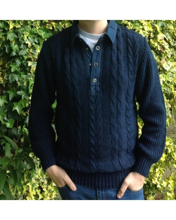 Blue Willi's Classic Mens Polo Sweater with Collar.