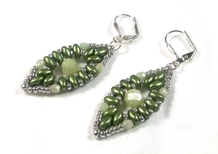 Beaded Handwoven Drop Earrings in Green by BeBoDesigns on Etsy