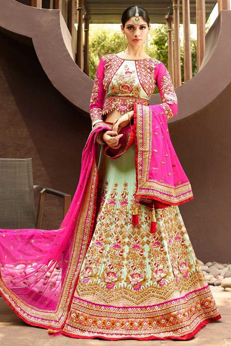 #AndaazFashion presents Pink Art Silk Lehenga Choli and Net Dupatta  http://www.andaazfashion.com/womens/lehenga-choli/party-wear-lehenga-light-green-art-silk-chaniya-choli-andaaz-fashion-dmv8511.html