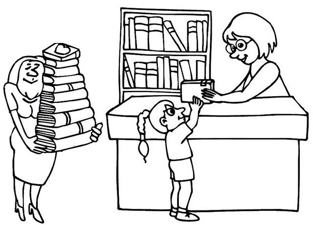 Librarian Bringing Books In The Library Coloring Page Coloring Pages Books Librarian