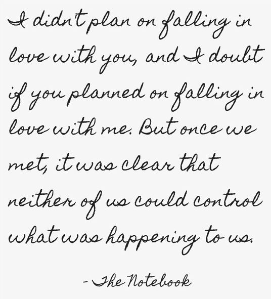Part of my favourite quote from 'The Notebook' <3