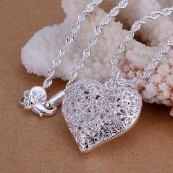 925 sterling zilveren sieraden hanger fijn: schattig hartje met bloemetjes. ketting en hanger top kwaliteit