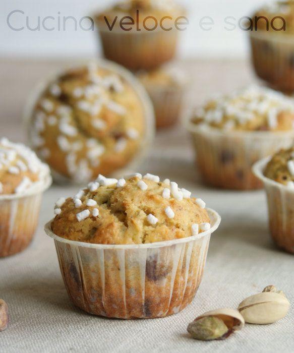Muffin al pistacchio e cioccolato   Cucina veloce e sana
