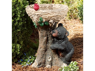 Bear And Nest Bird Bath Black Bear Decor And Moose Decor