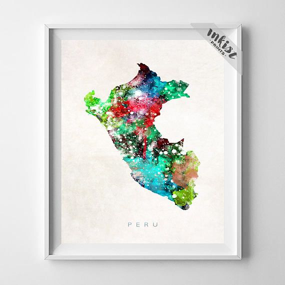 Peru Map Print, Lima Print, Peru Poster, Watercolor Painting, Map Print, Map Art, Wall Decor, Travel, Home Decor, Christmas Gift, Wall Art. PRICES FROM $9.95. CLICK PHOTO FOR DETAILS. #inkistprints #map #watercolor #watercolour #giftforher #homedecor #nursery #wallart #walldecor #poster #print #christmas #christmasgift #weddinggift #nurserydecor #mothersdaygift #fathersdaygift #babygift #valentinesdaygift #dorm #decor #livingroom #bedroom