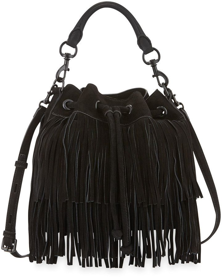 Rebecca Minkoff Fiona Suede Fringe Bucket Bag Black