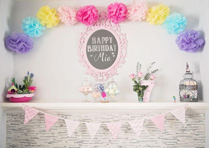Pom Pom Rainbow from a Trolls Inspired Birthday Party #trolls #rainbow #pompoms