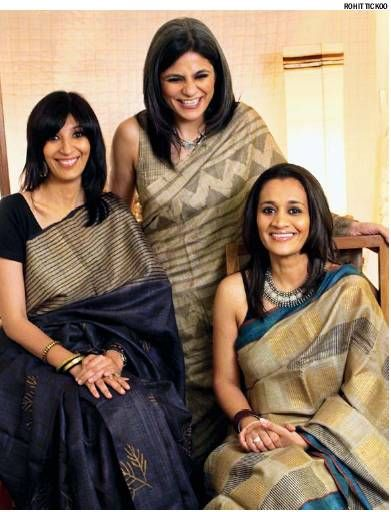 Tussar silk saris in earthy hues are a go to for your winter work wardrobe. Follow the lead from these lovely ladies.
