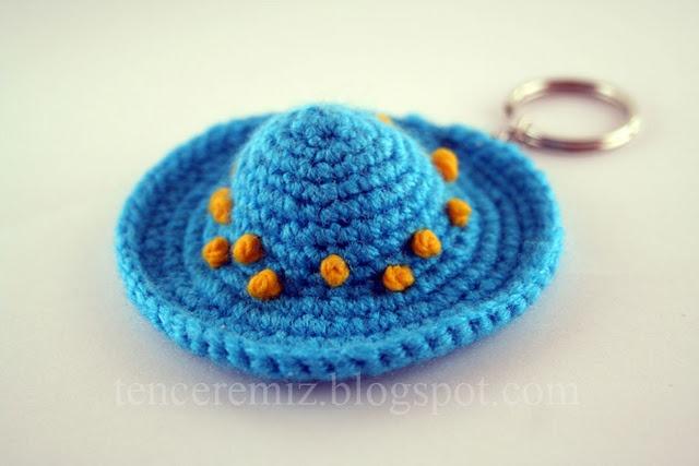 Mini crochet hat key fob