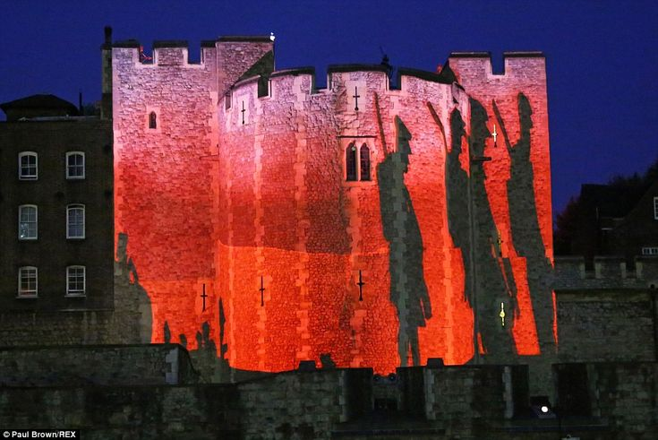 Powerful: The Tower was turned blood red and the shadows of men walking to war were shown in a moving ceremony