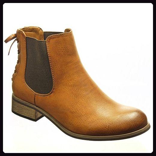 Angkorly - damen Schuhe Stiefeletten - Chelsea Boots - Knoten - Spitze Blockabsatz 3 CM - Camel F910 T 36 - Stiefel für frauen (*Partner-Link)