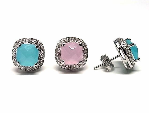 Pendientes de plata de primera ley con piedras naturales de color azul o rosa de cuarzo en presion y con circonitas por alrededor. REF.:110229920173. PRECIO: Desde 34,70€