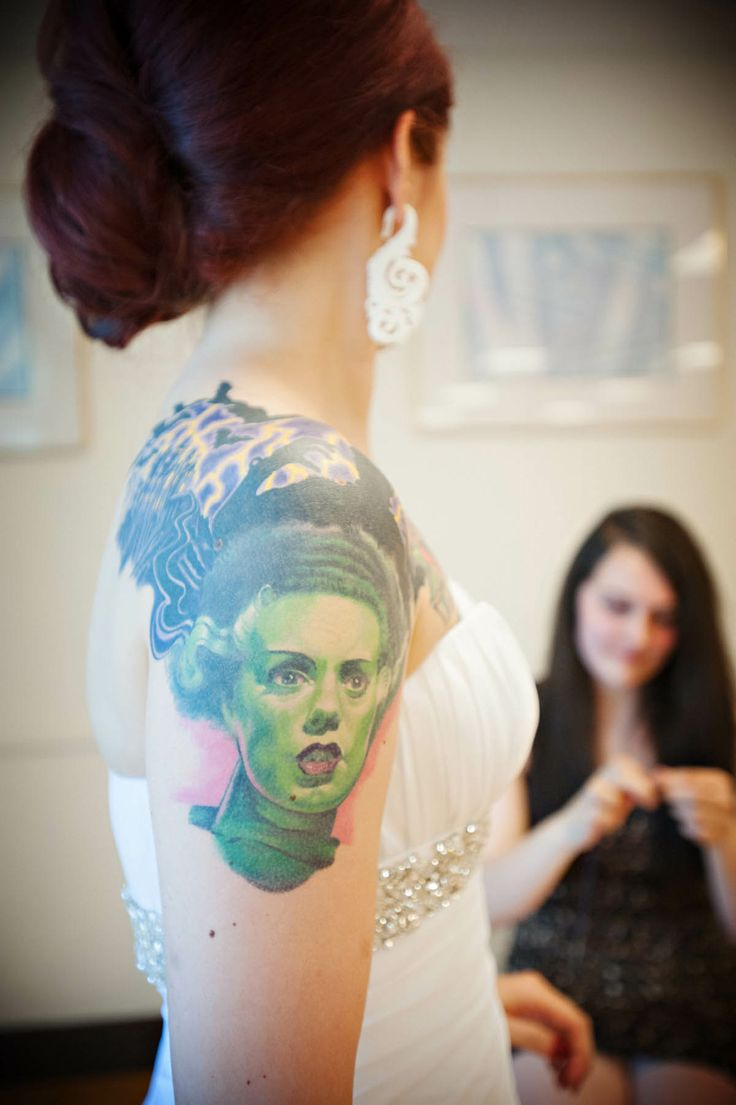Bride and Bride of Frankenstein! I was a bride with a bride of Frankenstein tattoo too! So much love for this