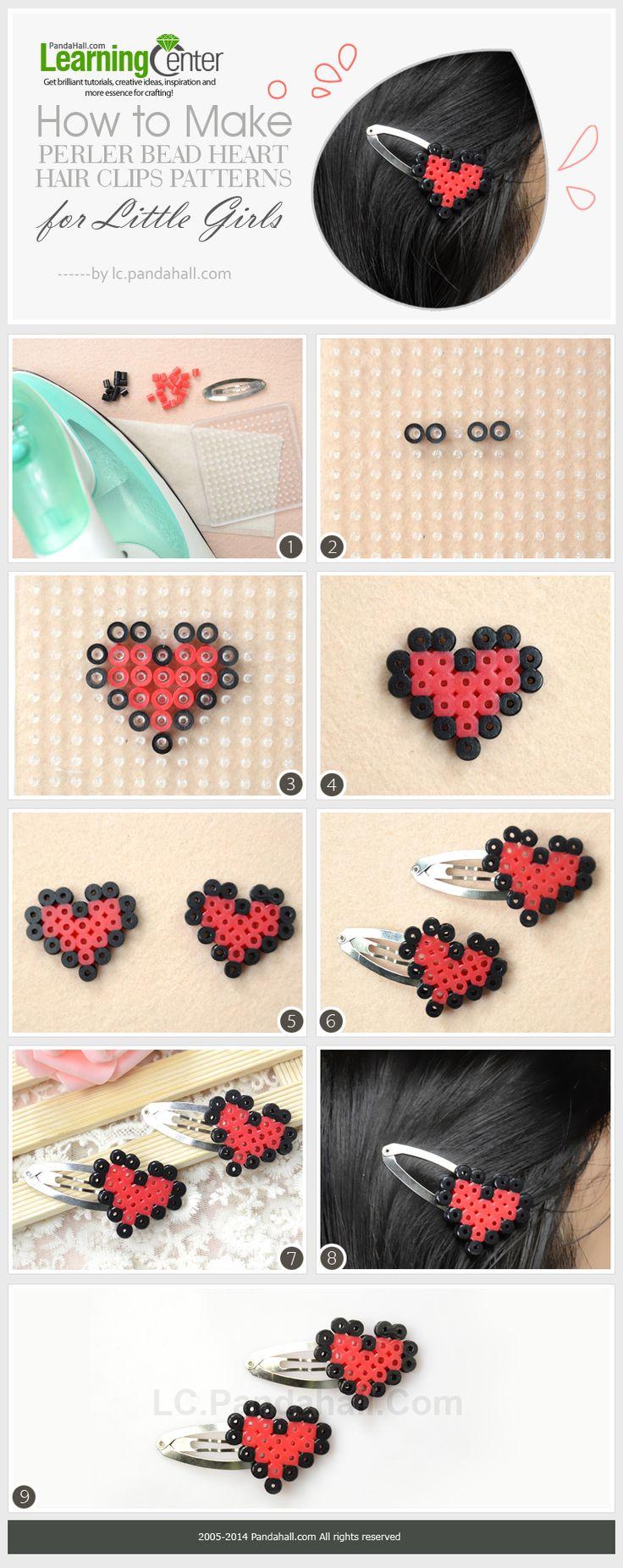 How to Make Perler Bead Heart Hair Clips Patterns for Little Girls