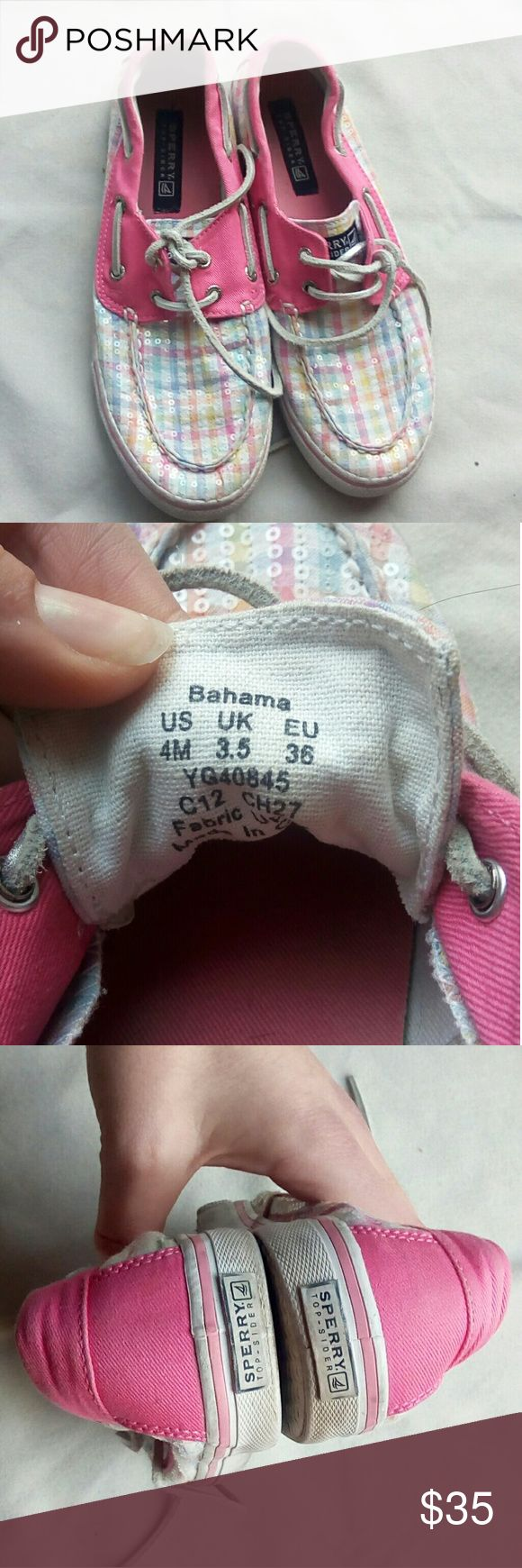 Bahama Sperry's women's size 6 Women's size 6 kids size 4 Good condition - normal wear Cute pink plaid design Sperry Shoes Flats & Loafers