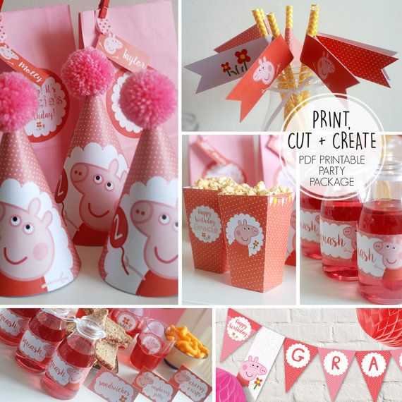 Personalised Childrens BUMPER Party Package  PEPPA PIG & GEORGE PIG  This playful personalised childrens party package is perfect for any muddle puddles fan! Fun and cute this will brighten up any celebration.   PDF Package includes:  ♥ PARTY INVITATION - Please let me know your party details - venue, time, date and rsvp info. Includes a colouring in file to print on the back for your special little guests to colour in.  ♥ THANK YOU NOTES  ♥ BUNTING - Each flag is 17cm x 13cm and 3 fit on an…