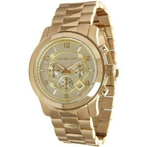 Michael Kors MK8077 Gold-Tone Men's Watch >> $174.00 << stylish monochromatic look; water resistant; comfortable to wear; classy! | http://watchesinthemovies.com