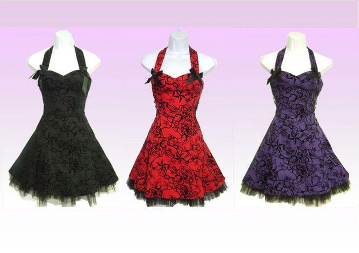 H & R London Flocking Dress Short (Red, Purple or Black)