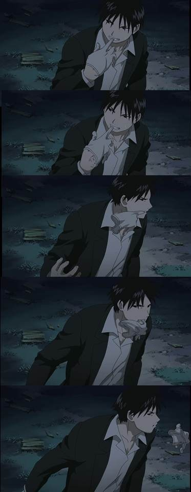 Admit it, Roy Mustang taking off his glove is...*gulp (ep 24) But why is he doing it with his mouth again?