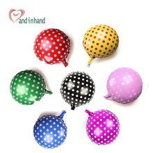 16 pulgadas de cumpleaños de los niños decoración del partido globos de papel de aluminio colorido punto 7 unids/set globos de aire globos suministros para niños juguetes clásicos(China (Mainland))