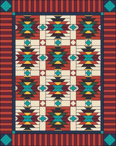 "Southwest Inspired Quilt pattern, 76"" x 96"" by QuiltFOX, designed by Judit Hajdu, 2014"