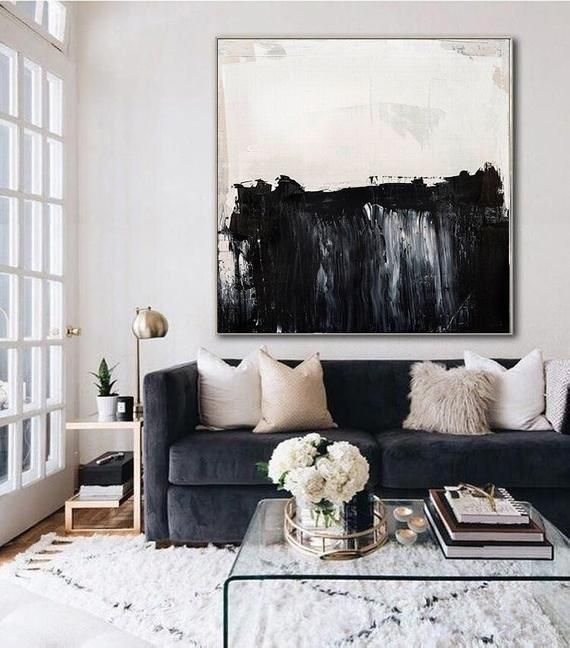 Black White Abstract Painting Black White Painting Decor Art On Canvas Minimalist Abstract Art Painting Horizontal Wall Art Wall Decor Art In 2020 Black Sofa Living Room Black Sofa Living Room Decor Living