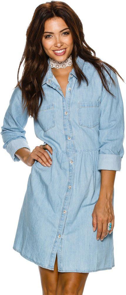 New Swell Women's Chambray Shirt Dress Cotton Chambray Denim #Swell #Mini