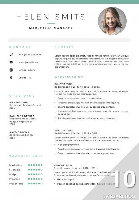 CV sjabloon in Word en PowerPoint, volledig zelf bewerkbaar. Inclusief bijpassend sollicitatiebrief sjabloon.