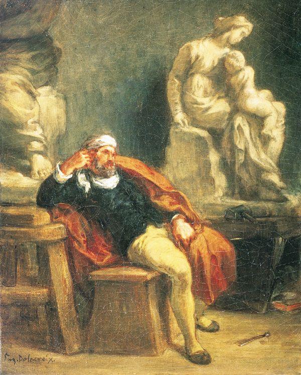 Michel-Ange dans son atelier, Eugène Delacroix, huile sur ...
