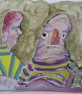 """LUCEBERT/""""gesprek"""", 1975 Gouache B 50 cm x L 65 cm 1975"""