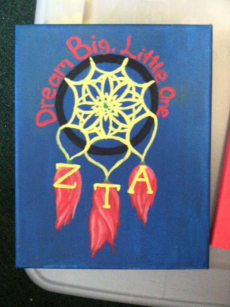 Big little sorority craft dreamcatcher diy zta greek for Sorority crafts for little