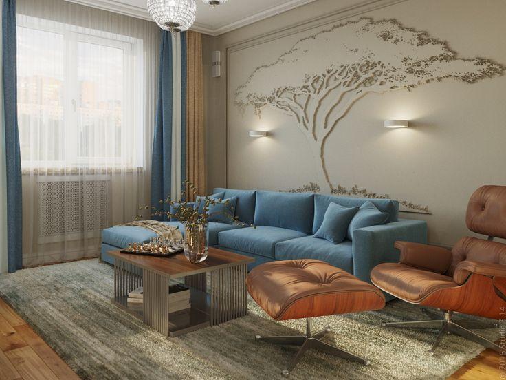 Гостиная с угловым диваном и дизайнерским кожаным креслом.