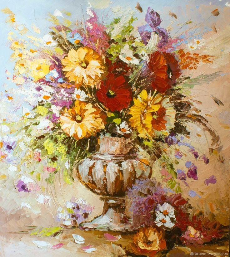 Картина маслом Романтический букет, 69х56см – купить в интернет-магазине на Ярмарке Мастеров с доставкой