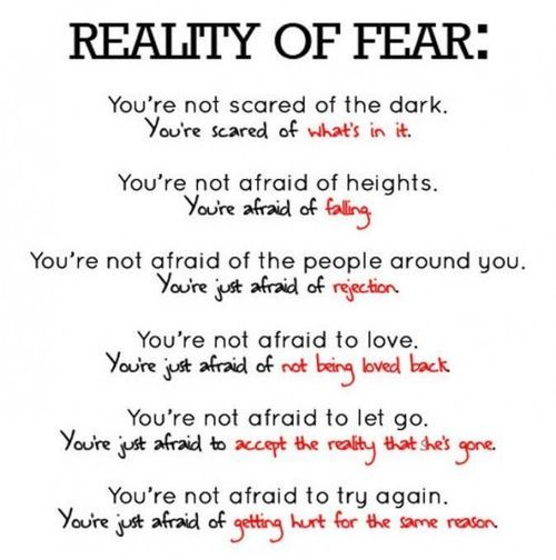 Reality of Fear: Life, Stuff, Menu, Wisdom, Truths, So True, Living, Reality, Inspiration Quotes