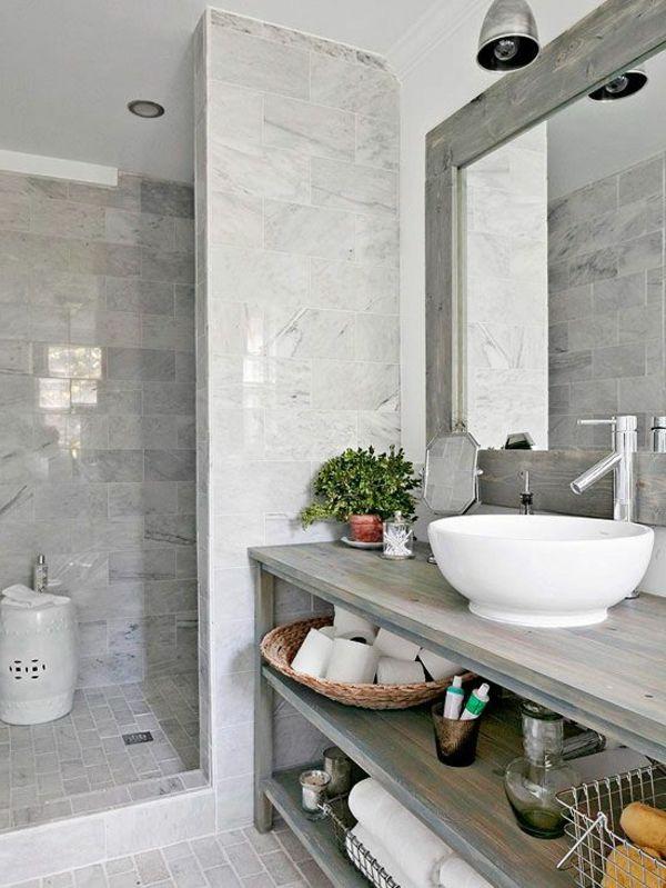 salle de bains grise, rangement sous vasque