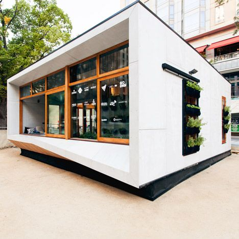 """ArchiBlox has unveiled its prototype for a compact carbon-positive house, featuring """"edible garden walls"""", a sunroom and an insulating grass roof"""