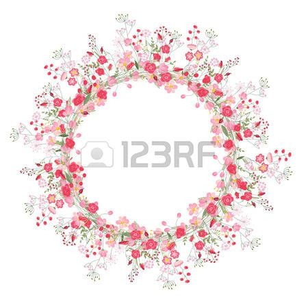 Detailed contour wreath with herbs roses and wild flowers isolated on white Round frame for your des Stock Vector
