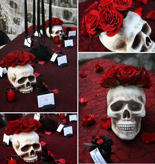 skull centerpiece with cobweb table cloth