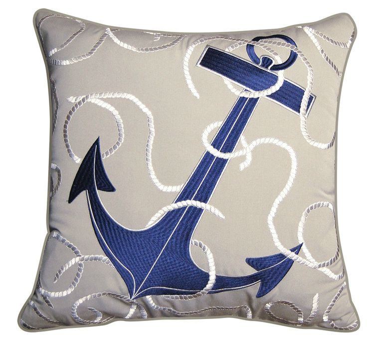 New! Outdoor or indoor nautical home throw pillow that will catch your eye with its' soft grey Sunbrella fabric and deep navy blue anchor.