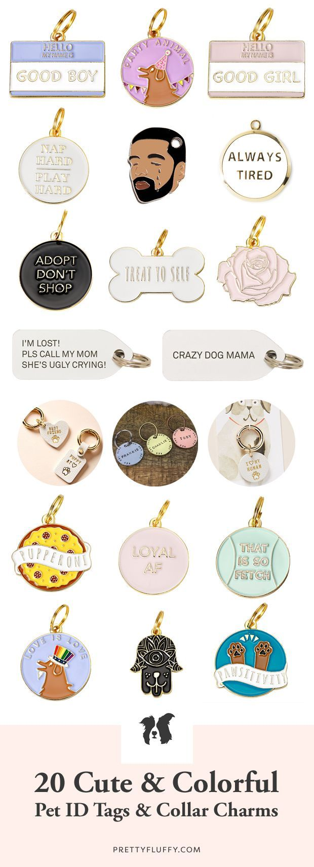 20 Cute & Colorful Pet ID Tags & Dog Collar Charms, #Charms #Collar #colorful #cooldogcollar…