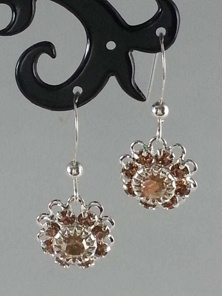 Amber Swarovski crystals on silver earrings