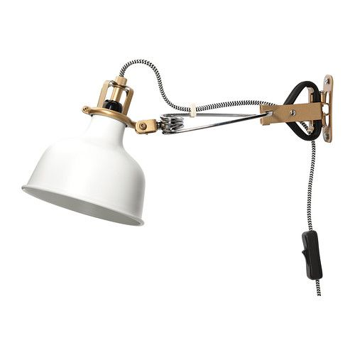 IKEA RANARP Wall/clamp spotlight Off-white The lamp has got double function - you can use it as a clamp spotlight or assemble it on the wall as a wall lamp.