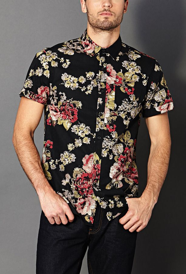 Black Floral Shortsleeve Shirt by Forever 21. Buy for $22 from Forever 21