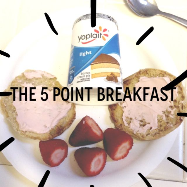 The 5 point Weight Watchers Breakfast . 2 points for light Yoplait Yogurt, 3 points for Thomas Whole Grain English Muffin, 1 point for Fat Free Strawberry Cream Cheese. The Strawberries are a freebie. Yum! And filling.