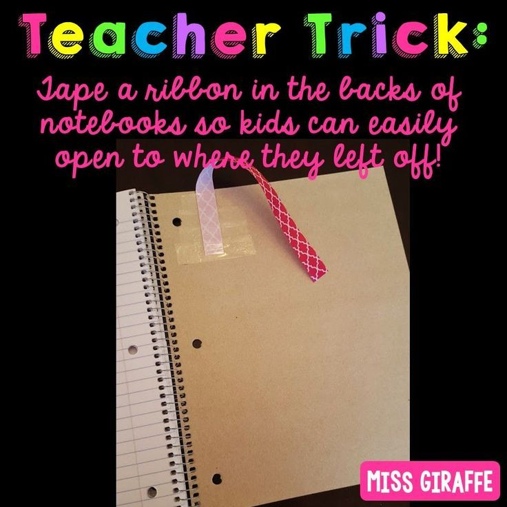 Teacher hack – tape a ribbon in the back of notebo…